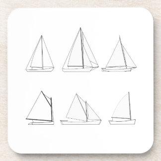 Vintage Day Sailing Sailboats Logo Coaster
