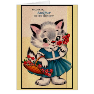 Vintage Dear Daughter Cat Birthday Card