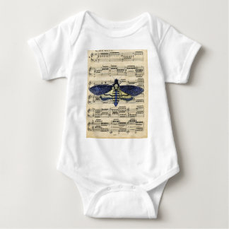 Vintage death moth music sheet mixed media baby bodysuit
