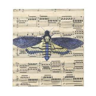 Vintage death moth music sheet mixed media notepad