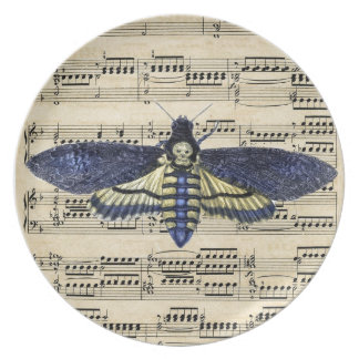 Vintage death moth music sheet mixed media plate