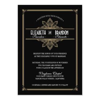Vintage Deco Black & Gold Wedding Invitation