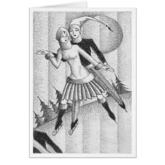 Vintage Deco Ice Skaters Sketch Circa 1930 Card