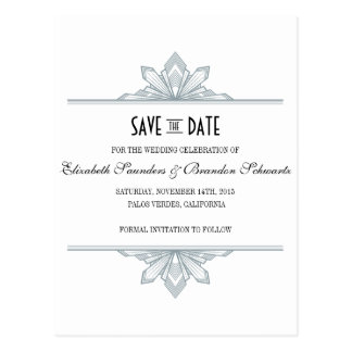 Vintage Deco Silver & Black Save the Date Postcard