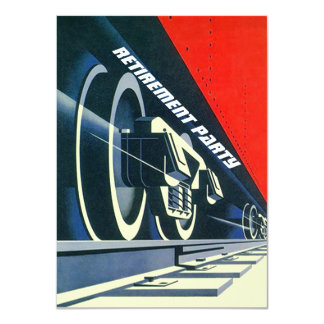 Vintage Deco Train Tracks Retirement RR Invitation