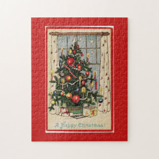 Vintage Decorated Christmas Tree Red Jigsaw Puzzle