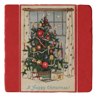 Vintage Decorated Christmas Tree Red Trivet