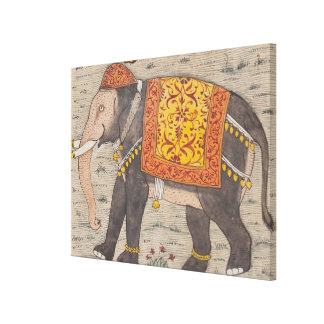Vintage Decorated Elephant Painting (17th Century) Canvas Print