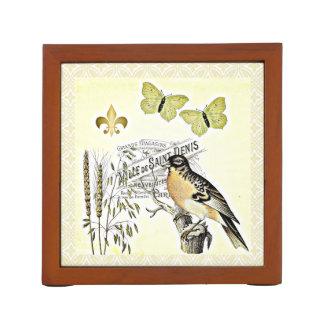 Vintage Decorative French Collage Bird Butterflies Desk Organiser