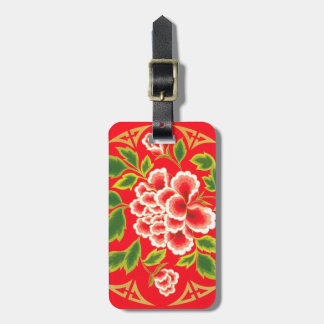 Vintage Decorative Japanese Floral Personalized Luggage Tag