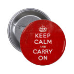 Vintage Deep Red Distressed Keep Calm and Carry On