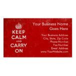 Vintage Deep Red Distressed Keep Calm and Carry On Pack Of Standard Business Cards
