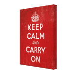 Vintage Deep Red Distressed Keep Calm and Carry On Stretched Canvas Print