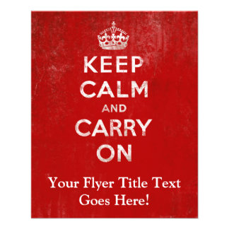 Vintage Deep Red Distressed Keep Calm and Carry On Flyer