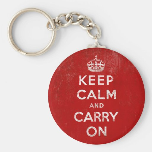 Vintage Deep Red Distressed Keep Calm and Carry On Keychain