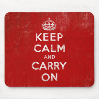 Vintage Deep Red Distressed Keep Calm and Carry On Mouse Mat