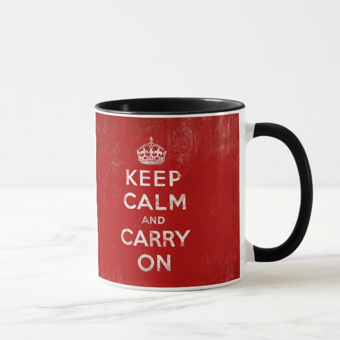 Vintage Deep Red Distressed Keep Calm and Carry On Mug