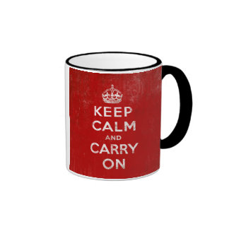 Vintage Deep Red Distressed Keep Calm and Carry On Coffee Mugs