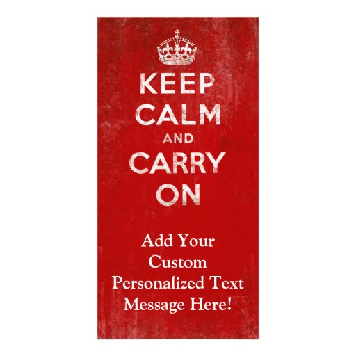 Vintage Deep Red Distressed Keep Calm and Carry On Picture Card