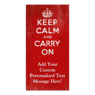 Vintage Deep Red Distressed Keep Calm and Carry On Photo Card Template