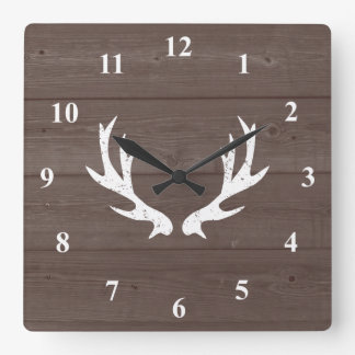 Vintage deer antler wood grain wall clock