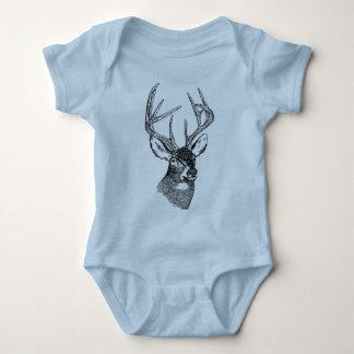 Vintage deer art graphic baby bodysuit