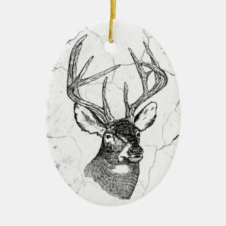 Vintage deer art graphic christmas ornament