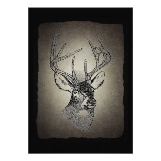 Vintage deer art graphic personalized invitations