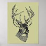 Vintage deer art graphic poster