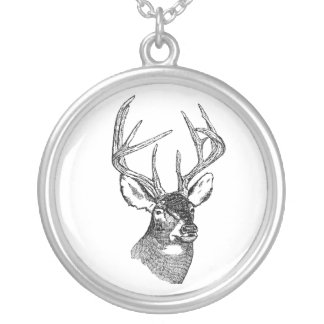 Vintage deer art graphic silver plated necklace