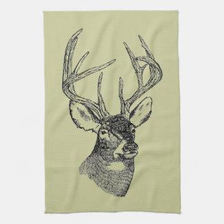 Vintage deer art graphic tea towel