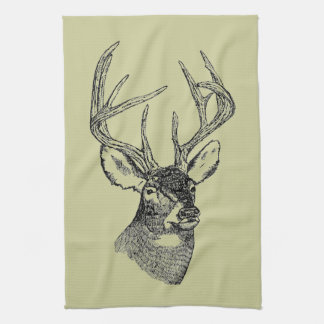 Vintage deer art graphic tea towels
