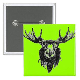 Vintage deer buck stag head antler line drawing 15 cm square badge
