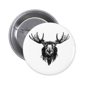 Vintage deer buck stag head antler line drawing 6 cm round badge