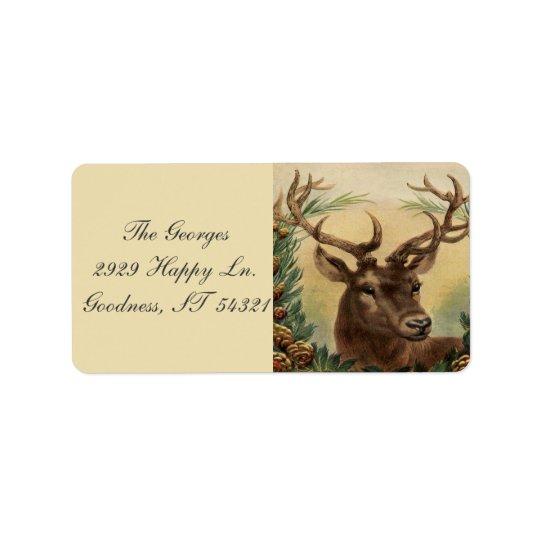 Vintage Deer Buck Stag Nature Rustic Christmas Address Label