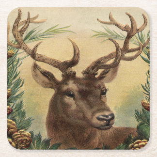 Vintage Deer Buck Stag Nature Rustic Christmas Square Paper Coaster