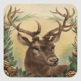 Vintage Deer Buck Stag Nature Rustic Christmas Square Sticker