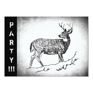 Vintage Deer drawing 13 Cm X 18 Cm Invitation Card