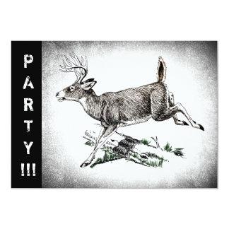 Vintage Deer graphic 13 Cm X 18 Cm Invitation Card