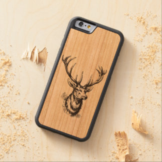 Vintage Deer Head Antlers Carved Cherry iPhone 6 Bumper Case