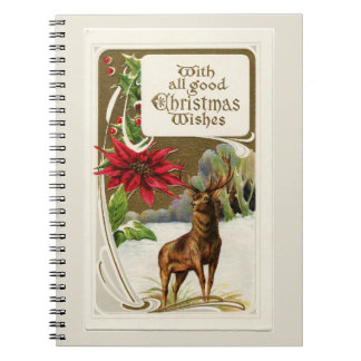 Vintage Deer in Snow Light Gray Christmas Notebooks