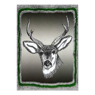 Vintage Deer with Antlers 13 Cm X 18 Cm Invitation Card