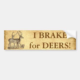 Vintage Deers Add Text Bumper Sticker