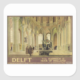 Vintage Delft Holland Square Sticker