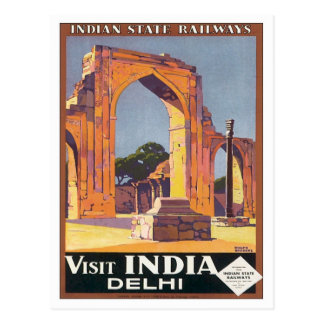 Vintage Delhi India Railways Postcard