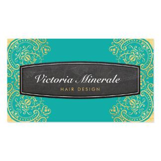 VINTAGE delicate filigree chalkboard jade gold Pack Of Standard Business Cards