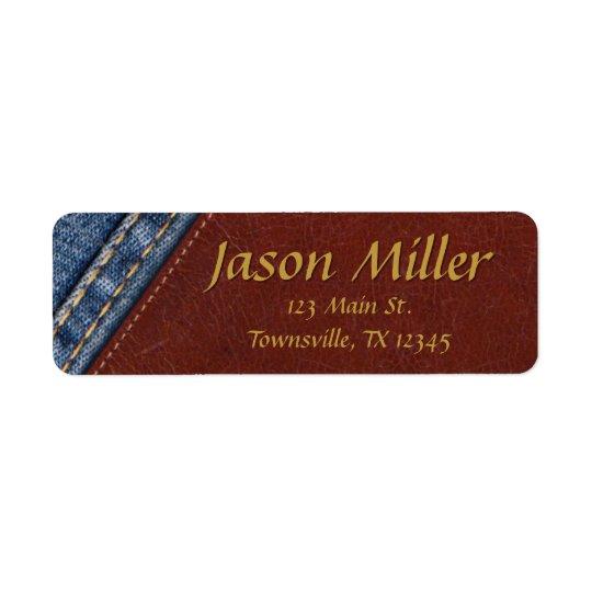Vintage Denim and Leather Return Address Label