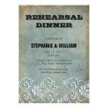 Vintage Denim Floral Rehearsal Dinner Card Custom Invitations