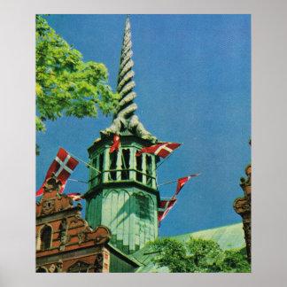 Vintage  Denmark, Copenhagen Stock Exchange, Poster