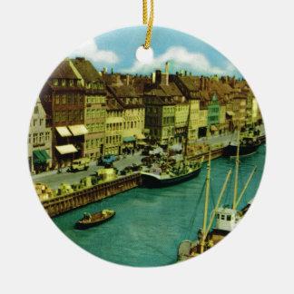 Vintage Denmark, Copenhagen waterfront Christmas Ornament